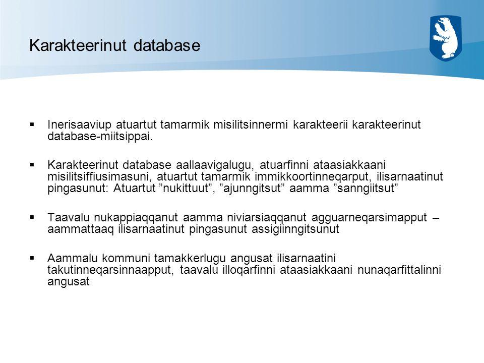 Karakteerinut database  Inerisaaviup atuartut tamarmik misilitsinnermi karakteerii karakteerinut database-miitsippai.