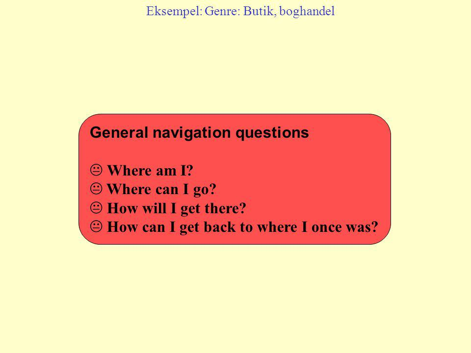 General navigation questions  Where am I. Where can I go.