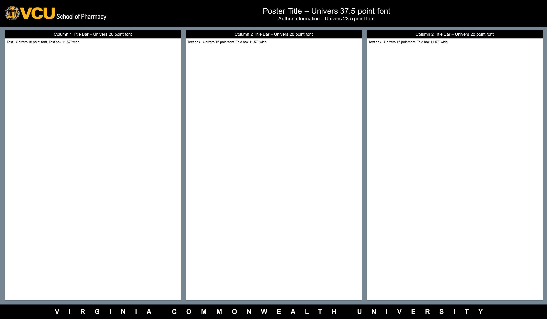 VIRGINIA COMMONWEALTH UNIVERSITY Column 2 Title Bar – Univers 20 point font Column 1 Title Bar – Univers 20 point font Poster Title – Univers 37.5 point font Author Information – Univers 23.5 point font Text - Univers 16 point font.
