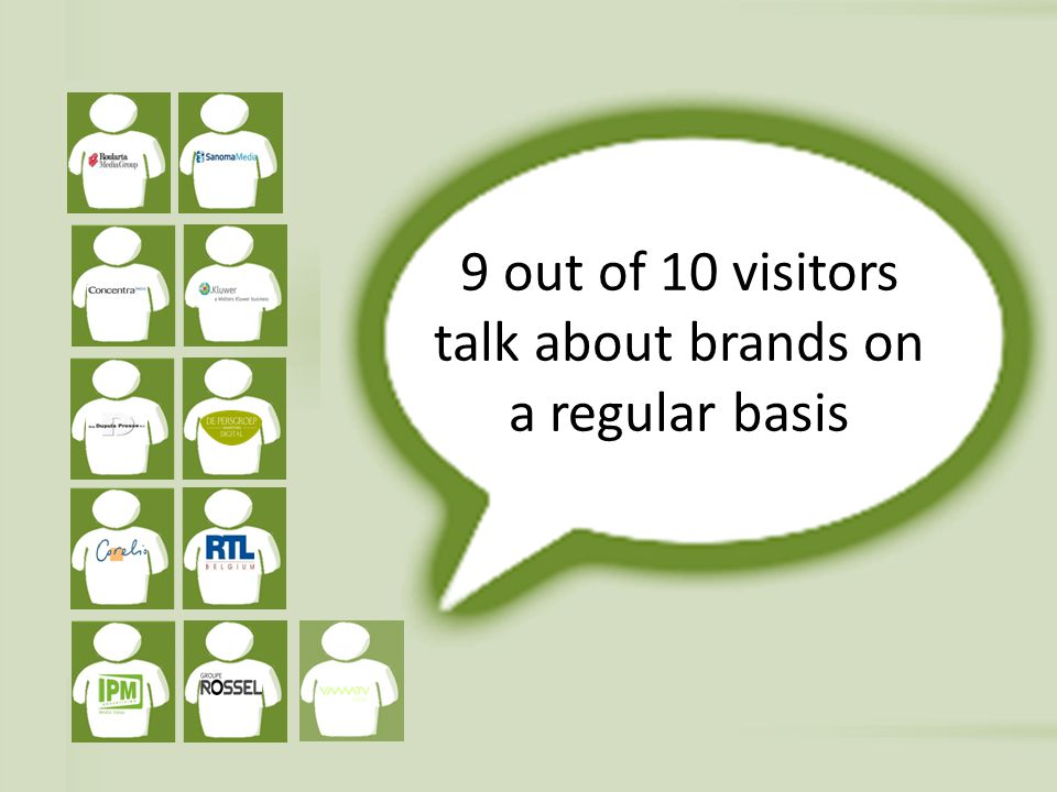 9 out of 10 visitors talk about brands on a regular basis