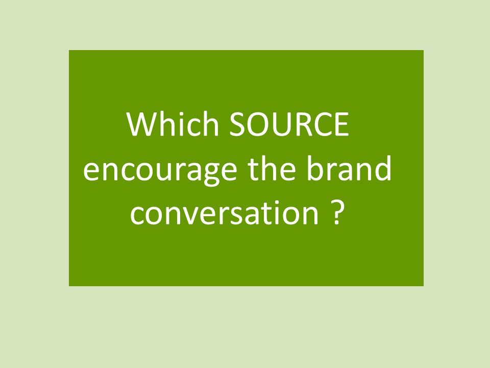 Which SOURCE encourage the brand conversation
