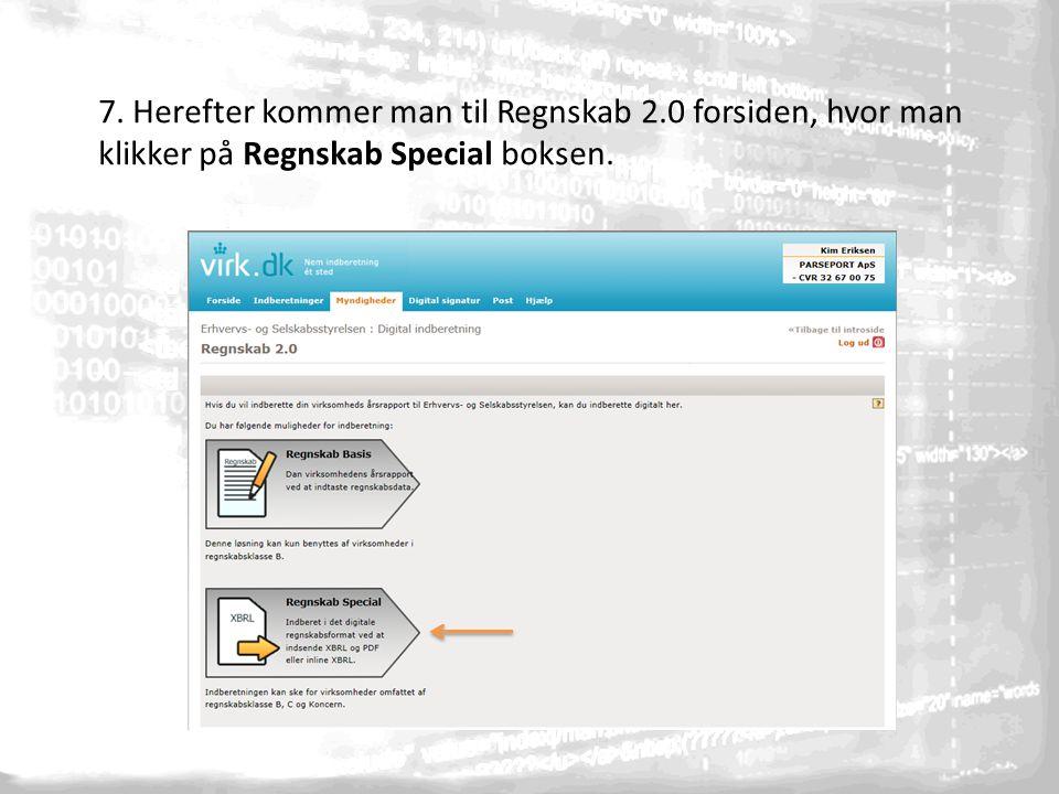7. Herefter kommer man til Regnskab 2.0 forsiden, hvor man klikker på Regnskab Special boksen.