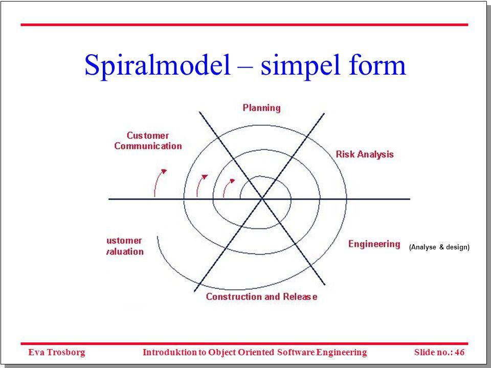 Eva TrosborgSlide no.: 46Introduktion to Object Oriented Software Engineering Spiralmodel – simpel form (Analyse & design)