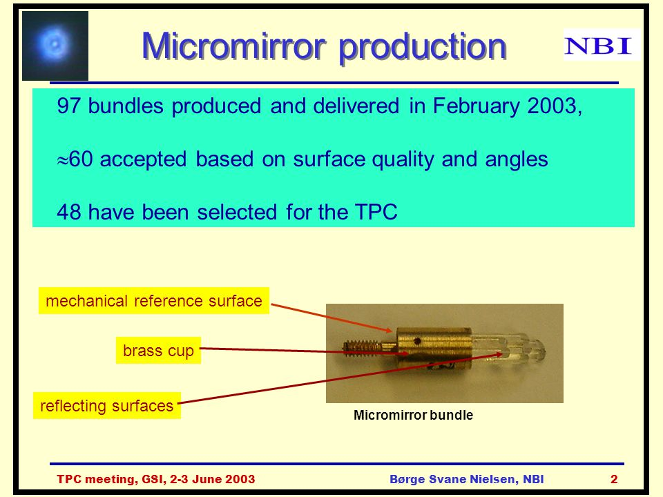 TPC meeting, GSI, 2-3 June 2003Børge Svane Nielsen, NBI2 Micromirror production 97 bundles produced and delivered in February 2003,  60 accepted base