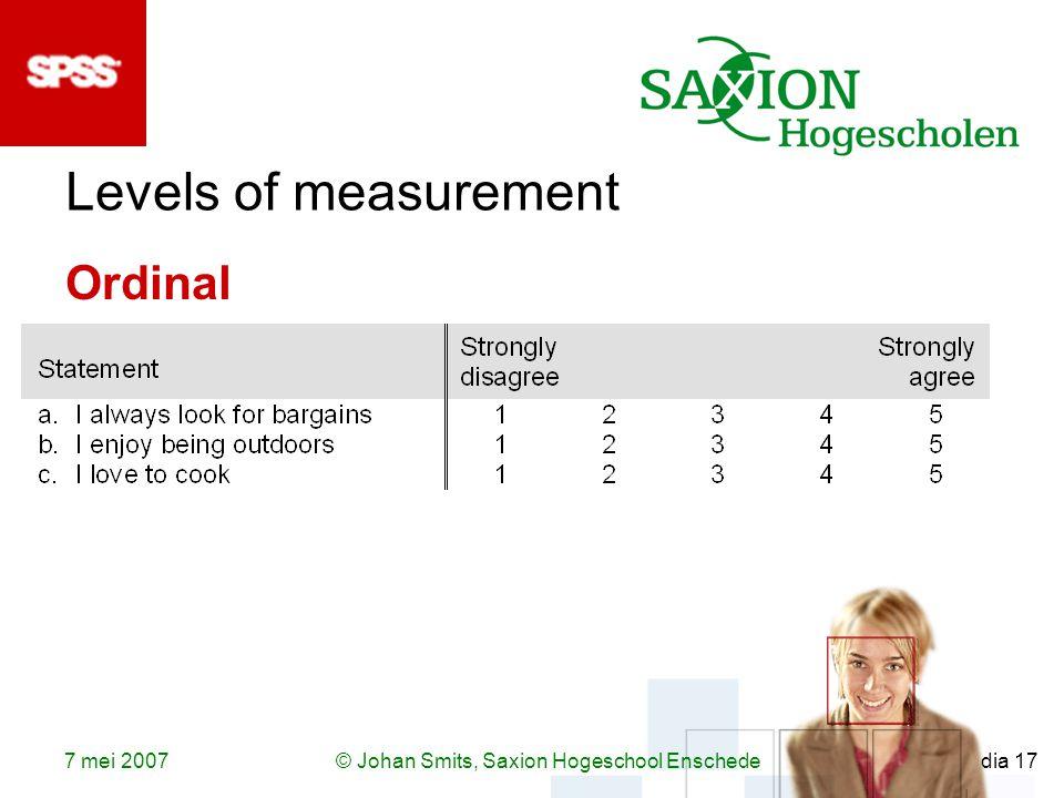 7 mei 2007© Johan Smits, Saxion Hogeschool Enschede dia 17 Levels of measurement Ordinal