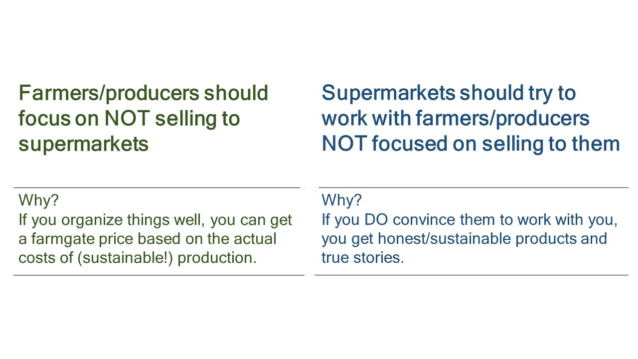 Farmers/producers should focus on NOT selling to supermarkets Why.