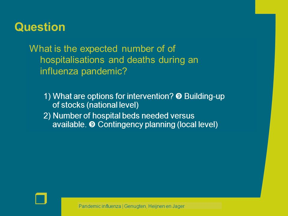 r Pandemic influenza | Genugten, Heijnen en Jager Question What is the expected number of of hospitalisations and deaths during an influenza pandemic?