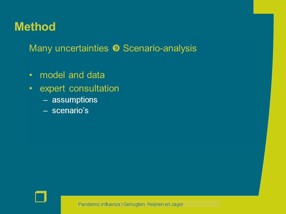 r Pandemic influenza | Genugten, Heijnen en Jager Method Many uncertainties  Scenario-analysis model and data expert consultation –assumptions –scenario's