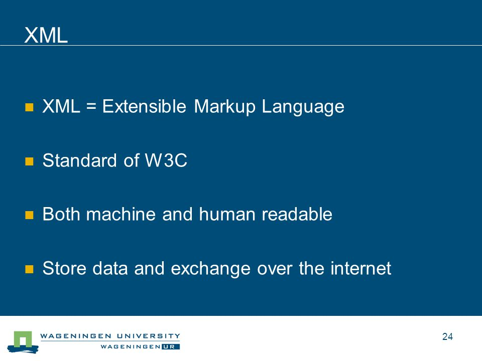 XML XML = Extensible Markup Language Standard of W3C Both machine and human readable Store data and exchange over the internet 24