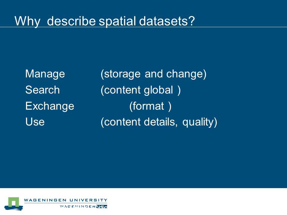 Centrum voor Geo-informatie Why describe spatial datasets.