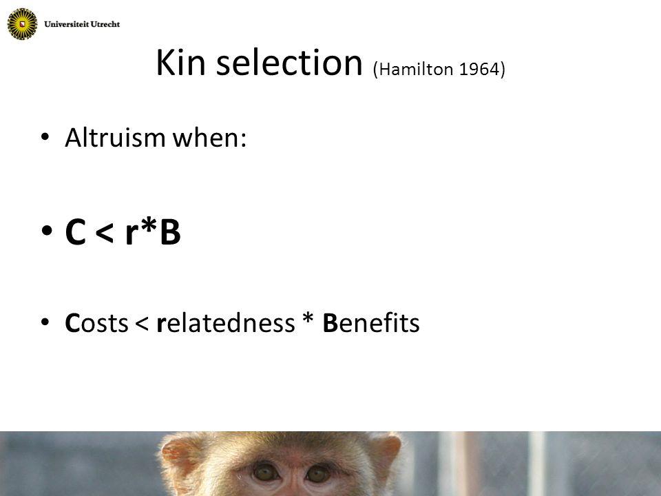 C < r*B r=1/2 r=1/4 r=1/8 Kin selection (Hamilton 1964)
