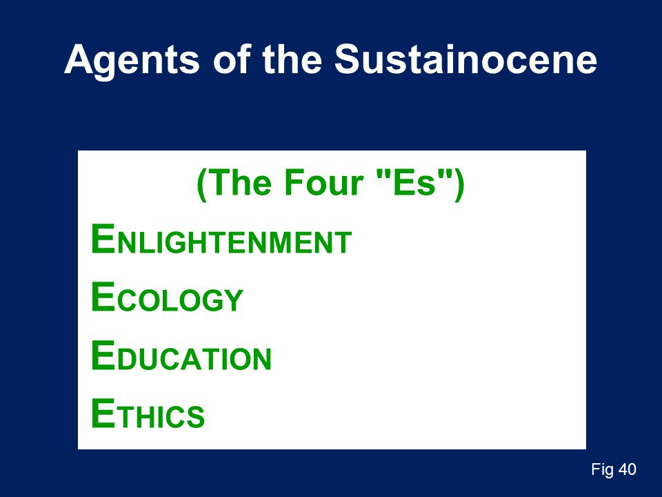 Agents of the Sustainocene (The Four Es ) E NLIGHTENMENT E COLOGY E DUCATION E THICS Fig 40