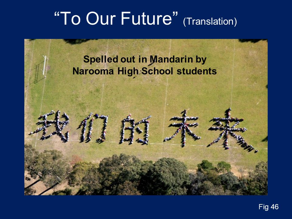 To Our Future (Translation) Spelled out in Mandarin by Narooma High School students Fig 46