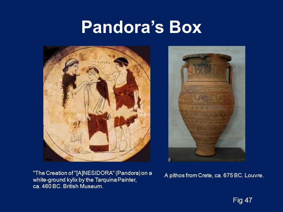 Pandora's Box The Creation of [A]NESIDORA (Pandora) on a white-ground kylix by the Tarquina Painter, ca.