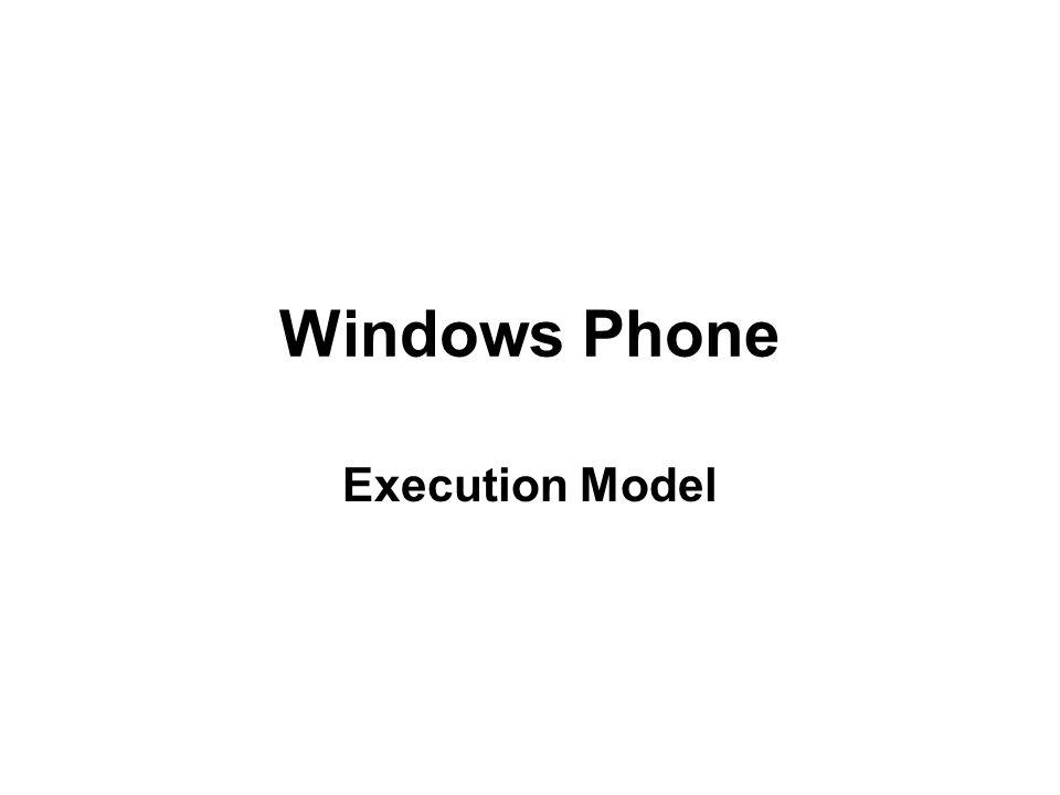 Windows Phone Execution Model