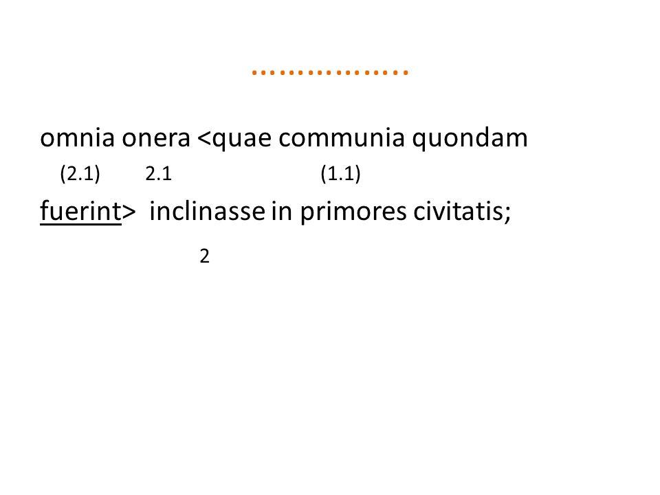 …………….. omnia onera <quae communia quondam (2.1) 2.1 (1.1) fuerint> inclinasse in primores civitatis; 2