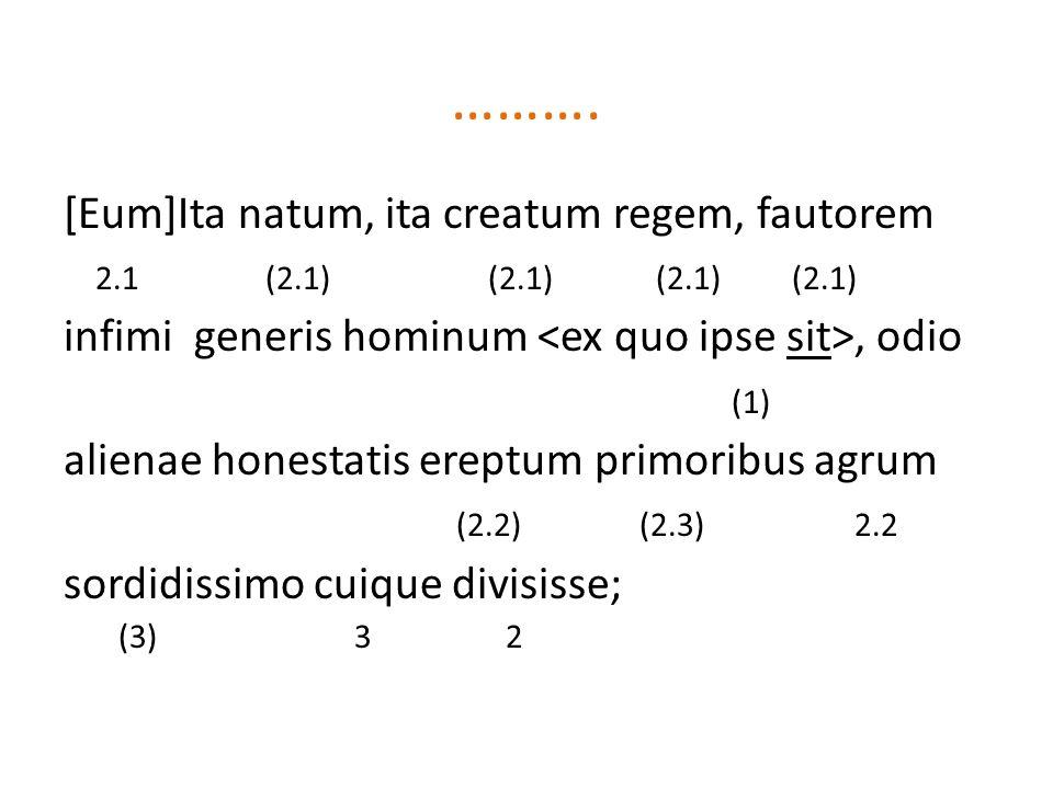 ………. [Eum]Ita natum, ita creatum regem, fautorem 2.1 (2.1) (2.1) (2.1) (2.1) infimi generis hominum, odio (1) alienae honestatis ereptum primoribus ag