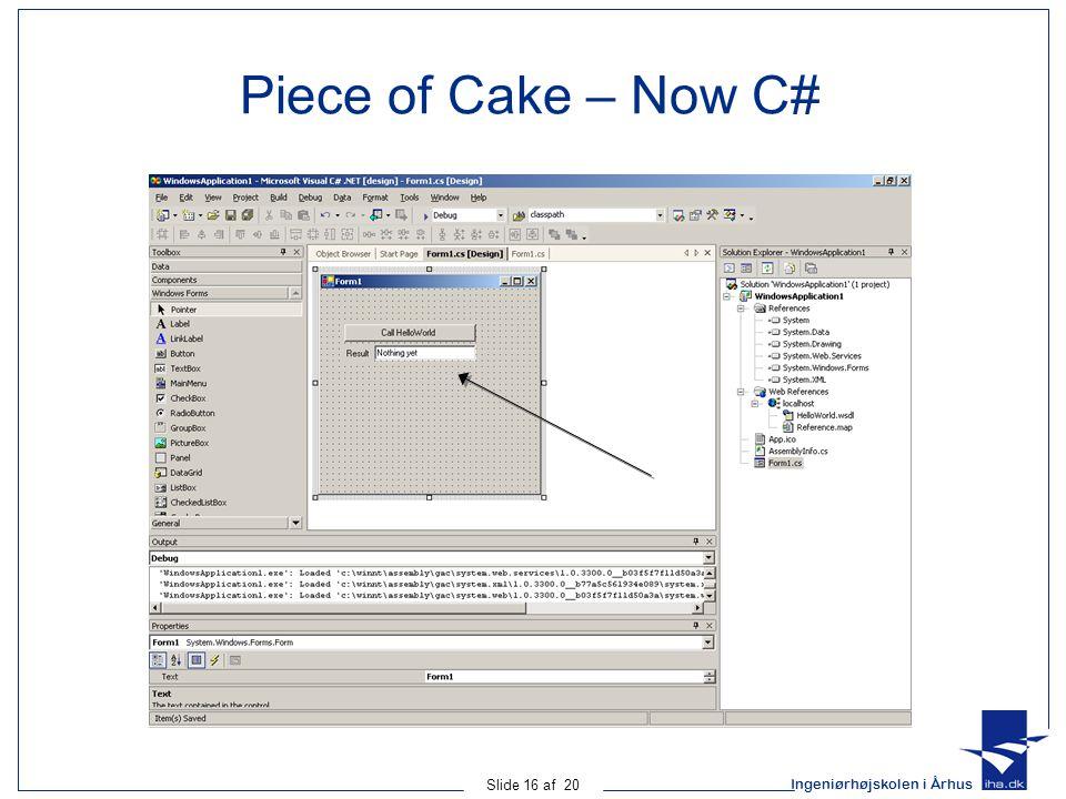 Ingeniørhøjskolen i Århus Slide 16 af 20 Piece of Cake – Now C#
