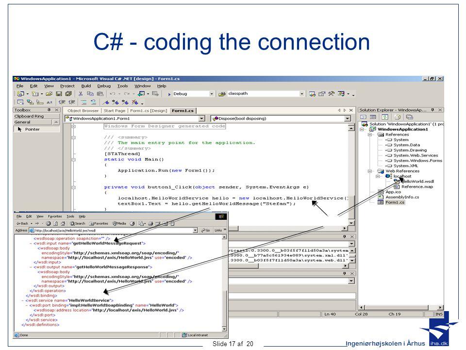 Ingeniørhøjskolen i Århus Slide 17 af 20 C# - coding the connection