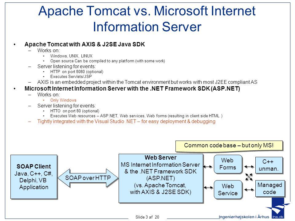 Ingeniørhøjskolen i Århus Slide 3 af 20 Apache Tomcat vs.
