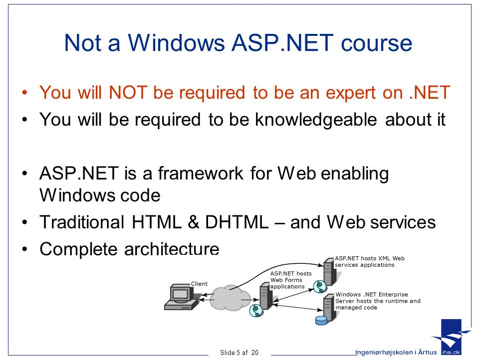 Ingeniørhøjskolen i Århus Slide 6 af 20 Ressources for learning more Feel free to learn more about ASP.NET: –Getting started with the.NET framework –http://msdn.microsoft.com/library/default.asp?url=/library/en- us/cpguide/html/cpcongettingstartedwithnetframework.asphttp://msdn.microsoft.com/library/default.asp?url=/library/en- us/cpguide/html/cpcongettingstartedwithnetframework.asp –Link can be found at the course site –Books on the subject Beginning.NET Web Services using C# by Joseph Bustos and Karli Watsom (WROK forlag) More will be listed on the course site