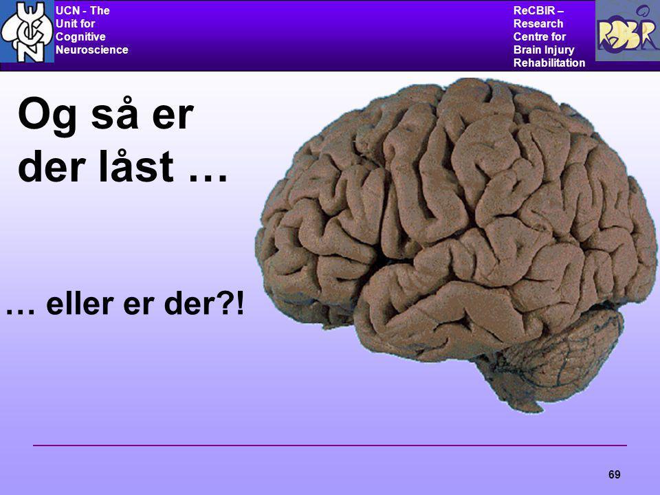 UCN - The Unit for Cognitive Neuroscience ReCBIR – Research Centre for Brain Injury Rehabilitation 69 Og så er der låst … … eller er der?!