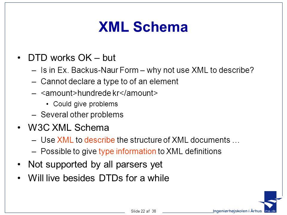 Ingeniørhøjskolen i Århus Slide 22 af 38 XML Schema DTD works OK – but –Is in Ex.
