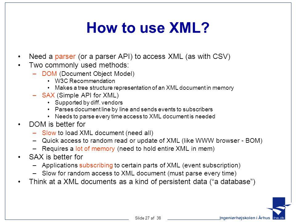 Ingeniørhøjskolen i Århus Slide 27 af 38 How to use XML.