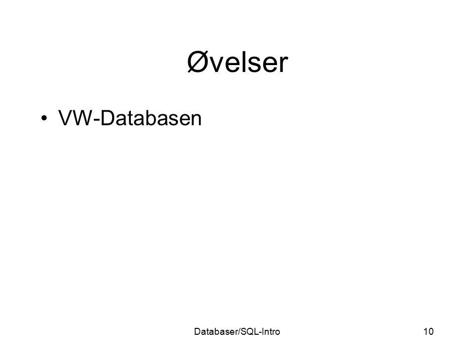 Databaser/SQL-Intro10 Øvelser VW-Databasen