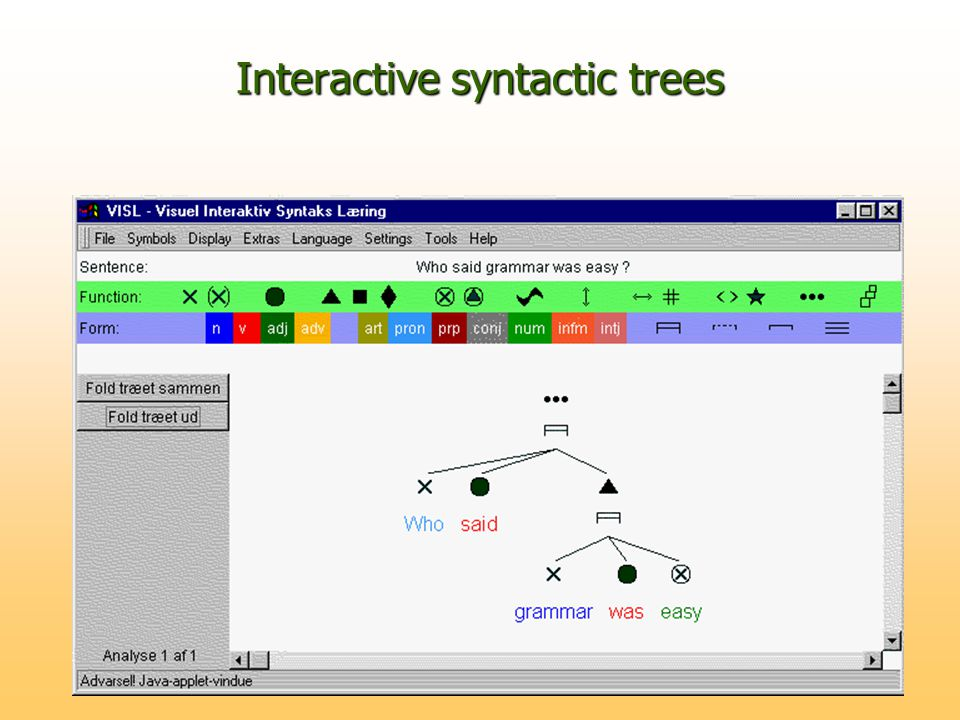Interactive syntactic trees