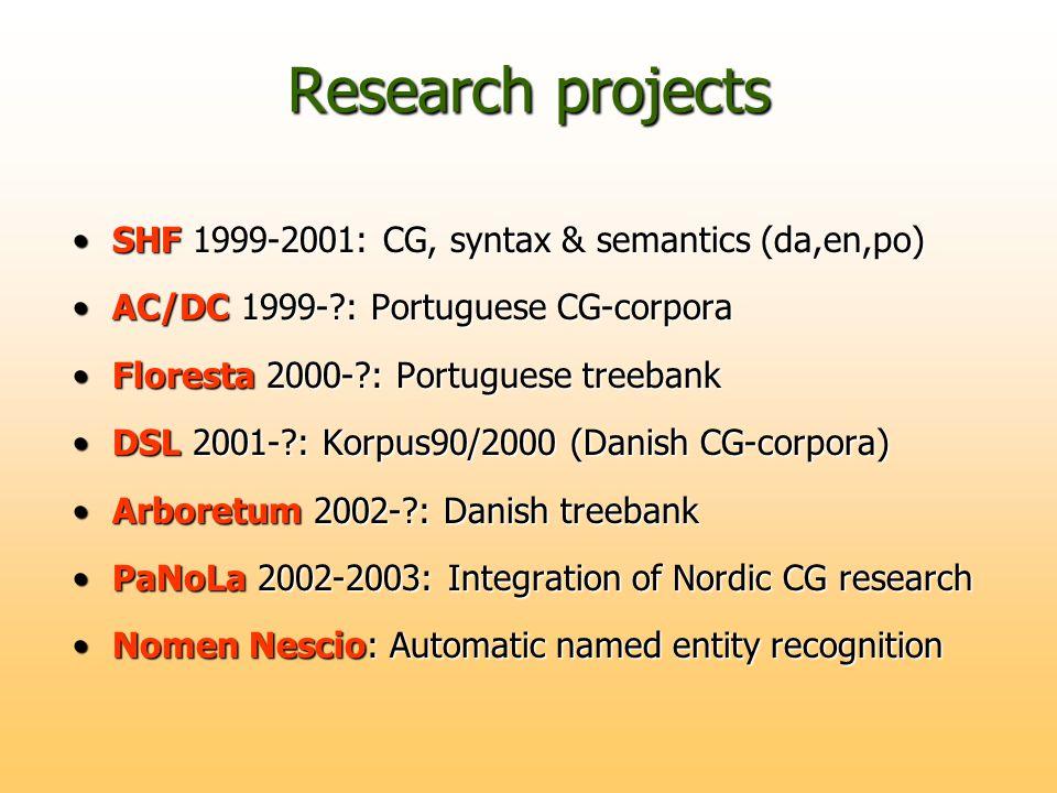 Research projects SHF 1999-2001: CG, syntax & semantics (da,en,po)SHF 1999-2001: CG, syntax & semantics (da,en,po) AC/DC 1999- : Portuguese CG-corporaAC/DC 1999- : Portuguese CG-corpora Floresta 2000- : Portuguese treebankFloresta 2000- : Portuguese treebank DSL 2001- : Korpus90/2000 (Danish CG-corpora)DSL 2001- : Korpus90/2000 (Danish CG-corpora) Arboretum 2002- : Danish treebankArboretum 2002- : Danish treebank PaNoLa 2002-2003: Integration of Nordic CG researchPaNoLa 2002-2003: Integration of Nordic CG research Nomen Nescio: Automatic named entity recognitionNomen Nescio: Automatic named entity recognition