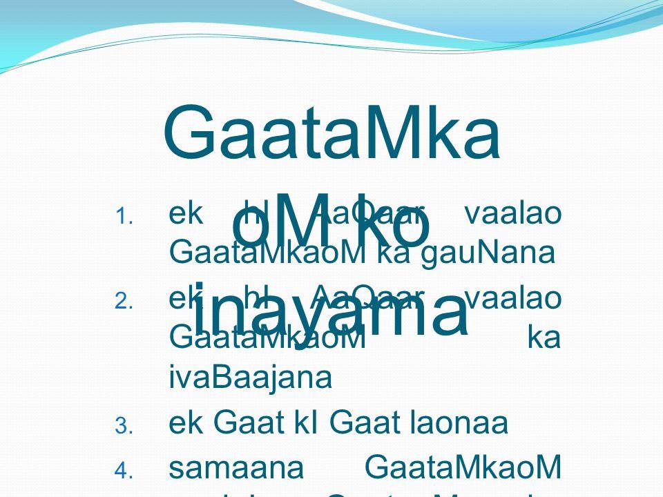 GaataMka oM ko inayama 1.ek hI AaQaar vaalao GaataMkaoM ka gauNana 2.