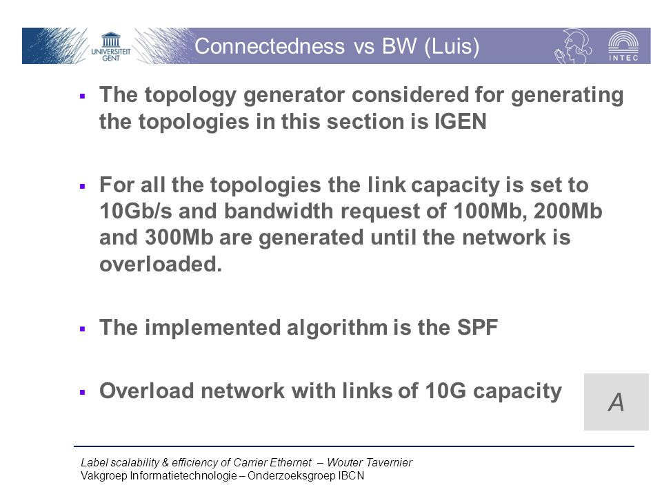 Label scalability & efficiency of Carrier Ethernet – Wouter Tavernier Vakgroep Informatietechnologie – Onderzoeksgroep IBCN Connectedness vs BW (Luis)  The topology generator considered for generating the topologies in this section is IGEN  For all the topologies the link capacity is set to 10Gb/s and bandwidth request of 100Mb, 200Mb and 300Mb are generated until the network is overloaded.