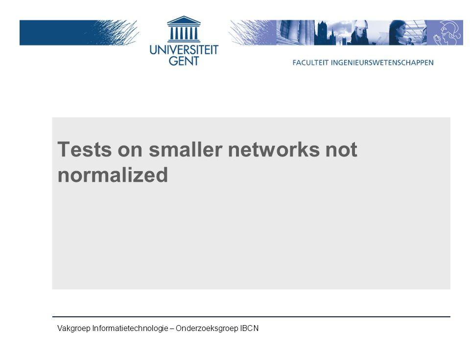 Vakgroep Informatietechnologie – Onderzoeksgroep IBCN Tests on smaller networks not normalized