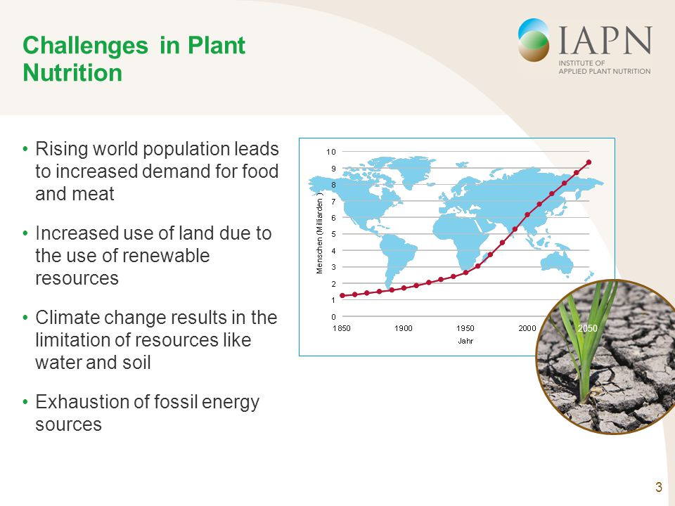 3 Challenges in Plant Nutrition Rising world population leads to increased demand for food and meat Increased use of land due to the use of renewable
