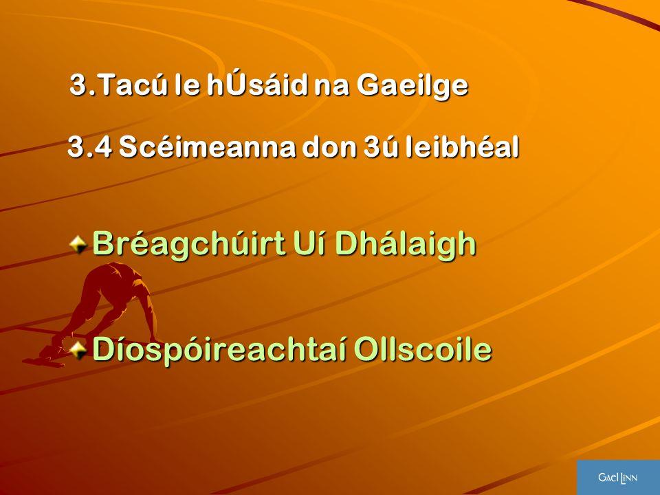 3.Tacú le hÚsáid na Gaeilge 3.Tacú le hÚsáid na Gaeilge 3.4 Scéimeanna don 3ú leibhéal Bréagchúirt Uí Dhálaigh Díospóireachtaí Ollscoile