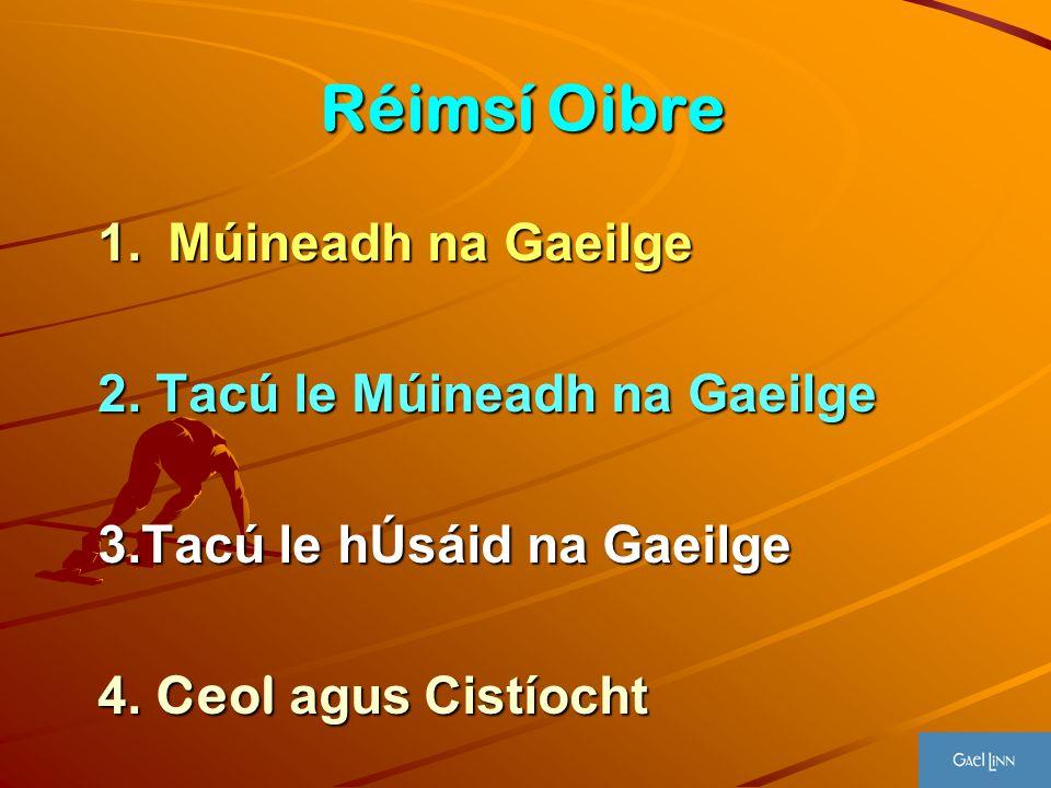 Réimsí Oibre 1.Múineadh na Gaeilge 2. Tacú le Múineadh na Gaeilge 3.Tacú le hÚsáid na Gaeilge 4. Ceol agus Cistíocht