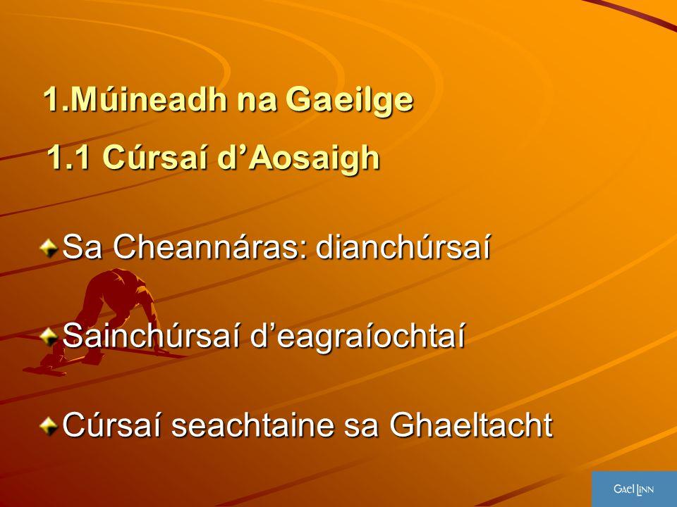 1.Múineadh na Gaeilge 1.1 Cúrsaí d ' Aosaigh 1.1 Cúrsaí d ' Aosaigh Sa Cheannáras: dianchúrsaí Sainchúrsaí d'eagraíochtaí Cúrsaí seachtaine sa Ghaelta