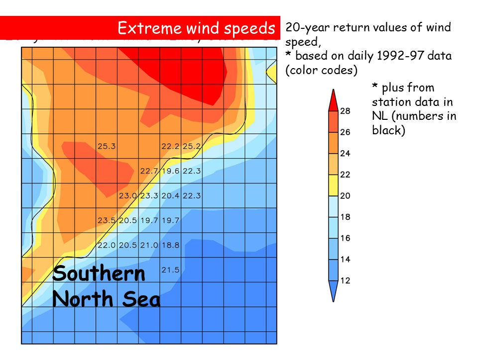20-year return values of wind speed, * based on daily 1992-97 data (color codes) Southern North Sea Extreme wind speeds * plus from station data in NL (numbers in black)