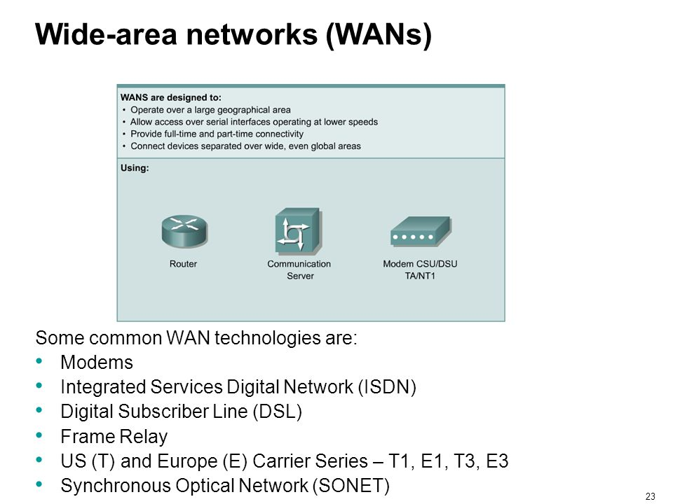 23 Wide-area networks (WANs) Some common WAN technologies are: Modems Integrated Services Digital Network (ISDN) Digital Subscriber Line (DSL) Frame R