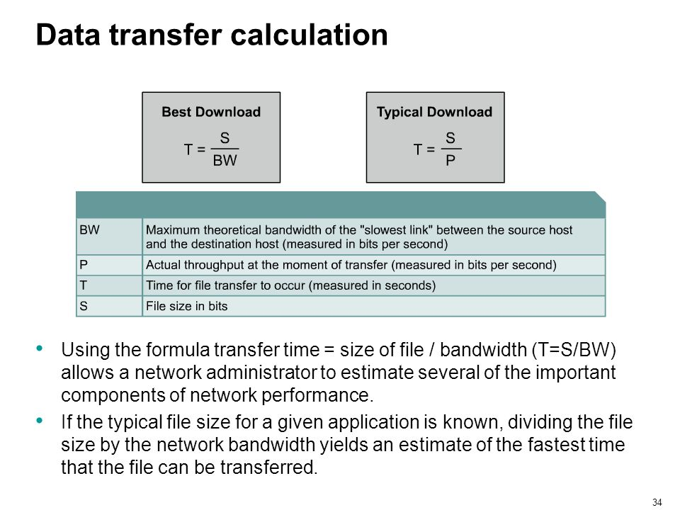 34 Data transfer calculation Using the formula transfer time = size of file / bandwidth (T=S/BW) allows a network administrator to estimate several of