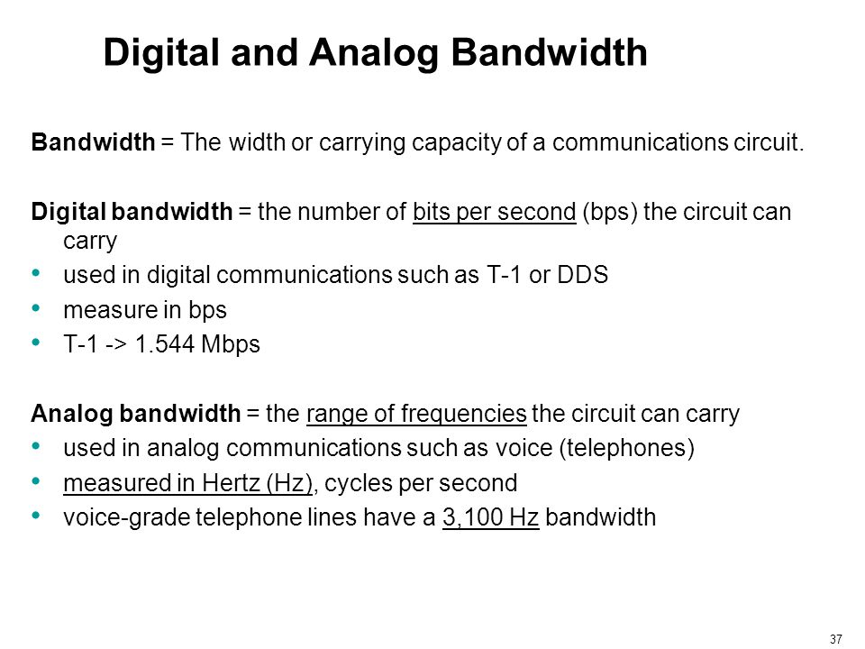 37 Digital and Analog Bandwidth Bandwidth = The width or carrying capacity of a communications circuit. Digital bandwidth = the number of bits per sec