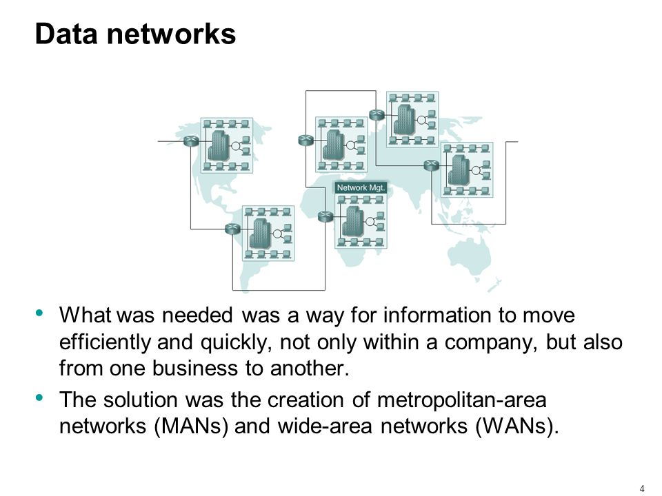 4 Data networks What was needed was a way for information to move efficiently and quickly, not only within a company, but also from one business to an