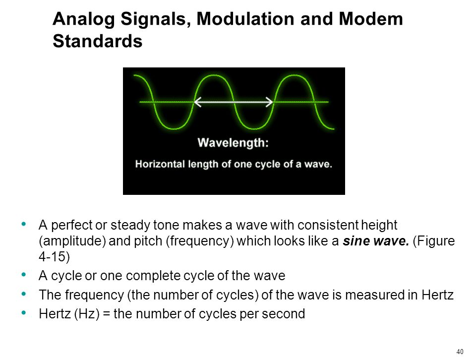 40 Analog Signals, Modulation and Modem Standards A perfect or steady tone makes a wave with consistent height (amplitude) and pitch (frequency) which