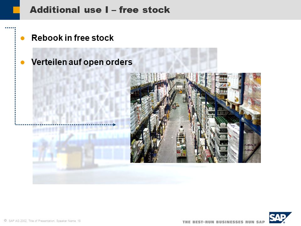  SAP AG 2002, Title of Presentation, Speaker Name 18 Additional use I – free stock l Rebook in free stock l Verteilen auf open orders