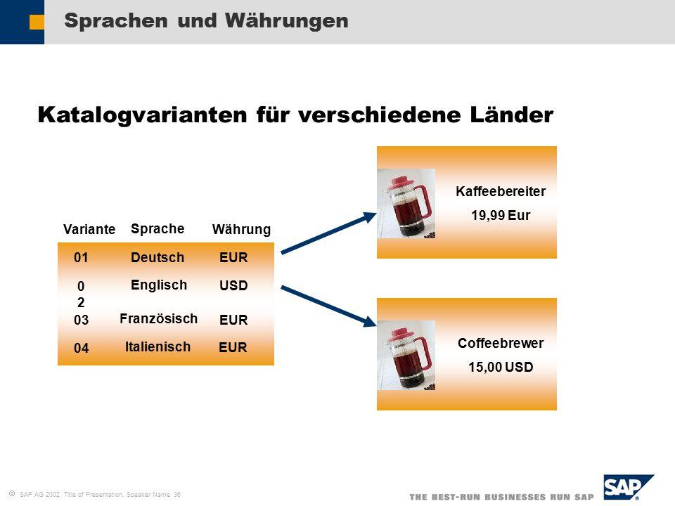  SAP AG 2002, Title of Presentation, Speaker Name 36 Sprachen und Währungen Katalogvarianten für verschiedene Länder EUR USD Deutsch Englisch Französisch EUR Italienisch EUR Variante Sprache Währung 01 0202 03 04 Kaffeebereiter 19,99 Eur Coffeebrewer 15,00 USD