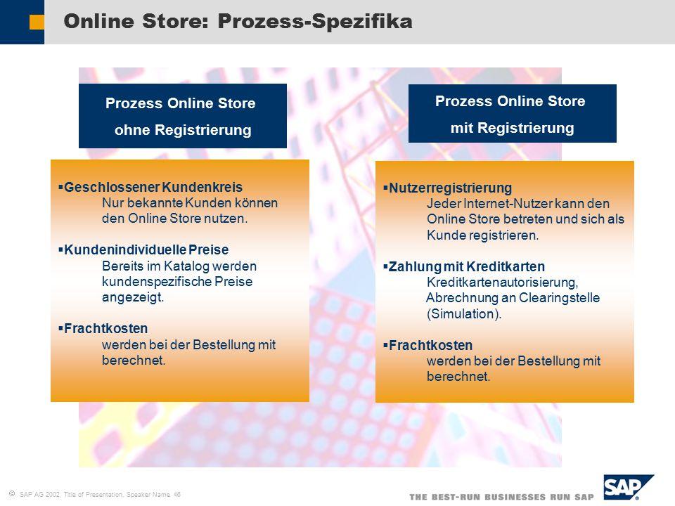  SAP AG 2002, Title of Presentation, Speaker Name 46 Online Store: Prozess-Spezifika  Nutzerregistrierung Jeder Internet-Nutzer kann den Online Store betreten und sich als Kunde registrieren.