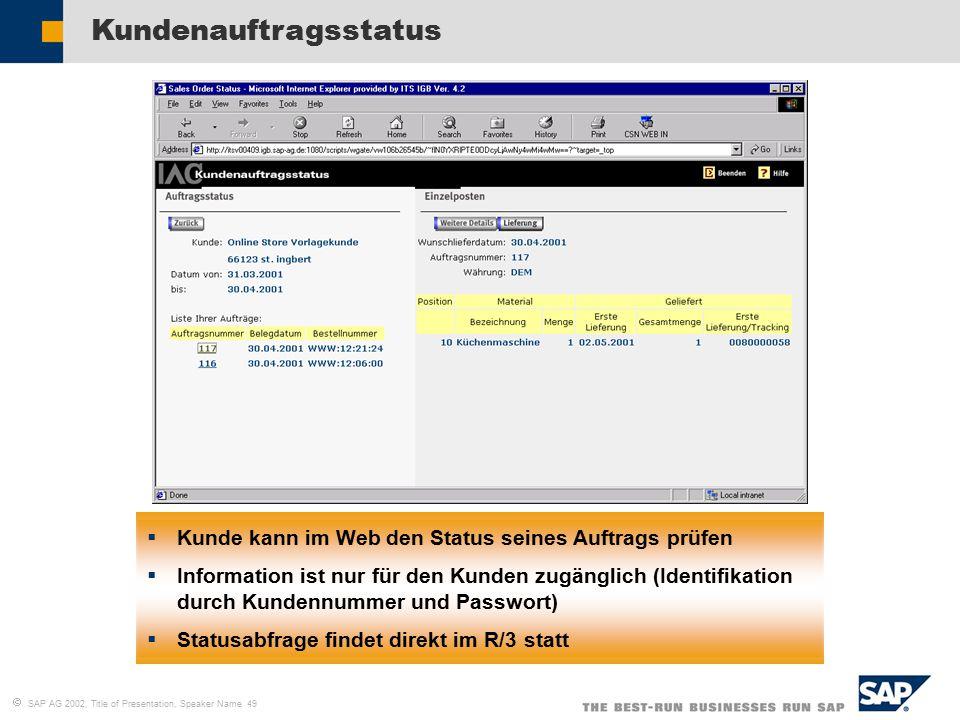  SAP AG 2002, Title of Presentation, Speaker Name 49 Kundenauftragsstatus  Kunde kann im Web den Status seines Auftrags prüfen  Information ist nur für den Kunden zugänglich (Identifikation durch Kundennummer und Passwort)  Statusabfrage findet direkt im R/3 statt