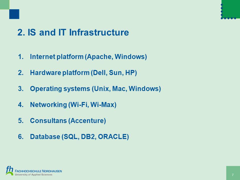 7 2. IS and IT Infrastructure 1.Internet platform (Apache, Windows) 2.Hardware platform (Dell, Sun, HP) 3.Operating systems (Unix, Mac, Windows) 4.Net