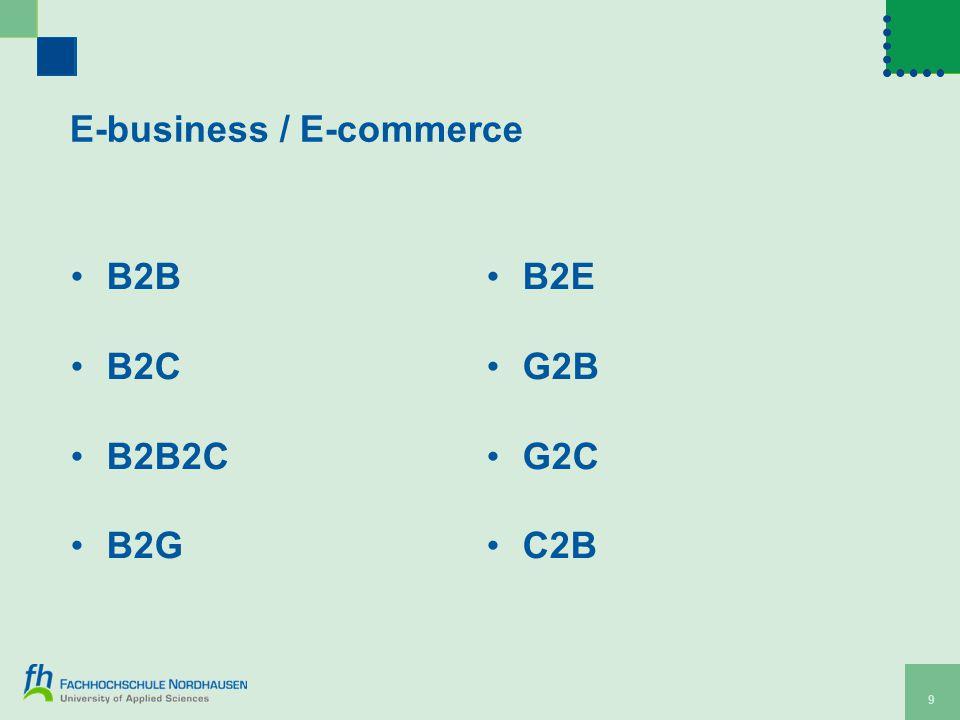 E-business / E-commerce B2B B2C B2B2C B2G B2E G2B G2C C2B 9